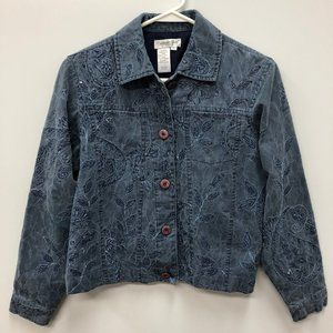 Coldwater creek embroidered jean jacket Size Small